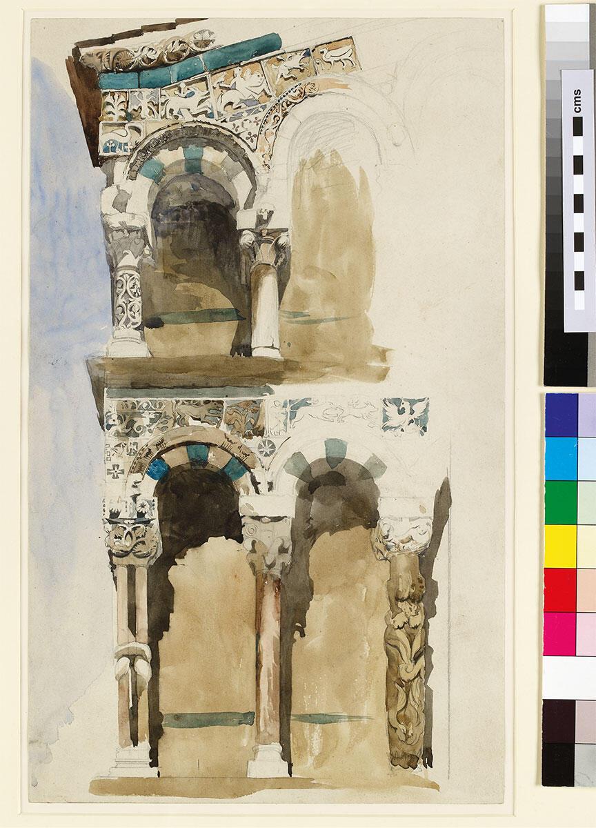 John Ruskin, Detail der Fassade von San Michele in Foro in Lucca. Aquarellskizze, 1846.
