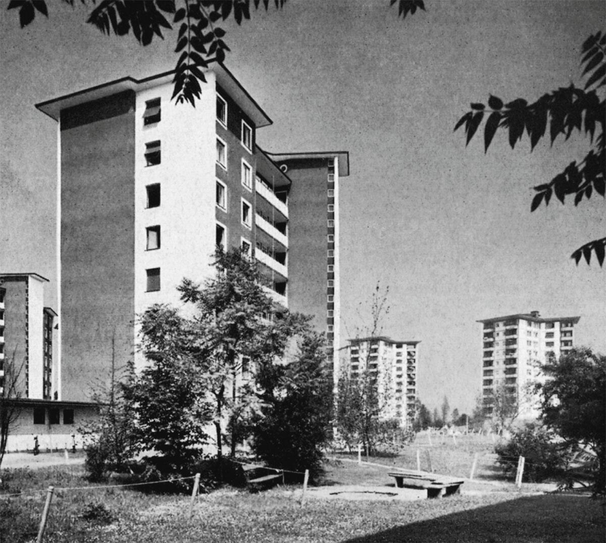 Der Westen bevorzugte einzelne Punktbauten ausserhalb der Stadtzentren; Zürich, Hochhäuser am Letzigraben, A. H. Steiner, 1951-1953