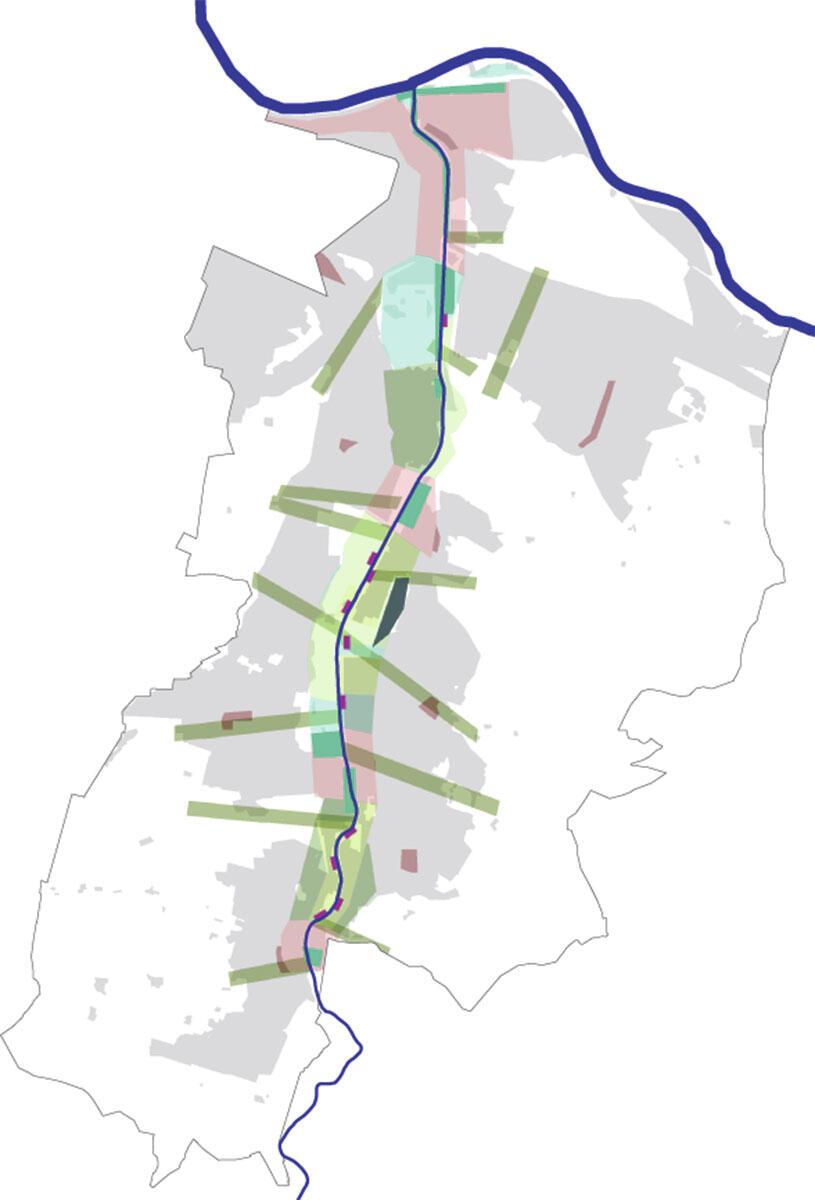 Birrstadt – Synthese Freiraumkonzept. Flächen in diversem Grün = Gärten des Birsparks.