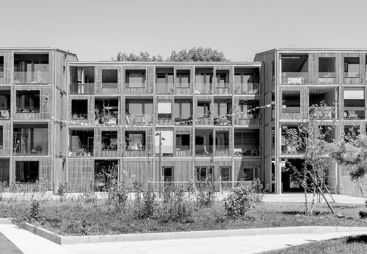 L'enveloppe est traitée comme une robe de bois emballant le bâtiment de manière unitaire. La pose ajourée des bardages crée un filtre entre l'intérieur et l'extérieur. Photo: Johannes Marburg