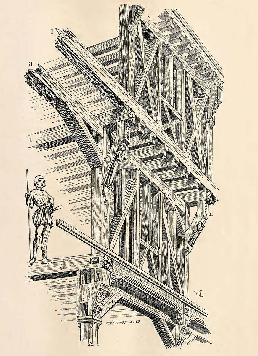 Überkragendes, mittelalterliches Fachwerk. Illustration von Eugène-Emmanuel Viollet-le-Duc aus Dictionnaire raisonné de ľarchitecture française, S. 55.