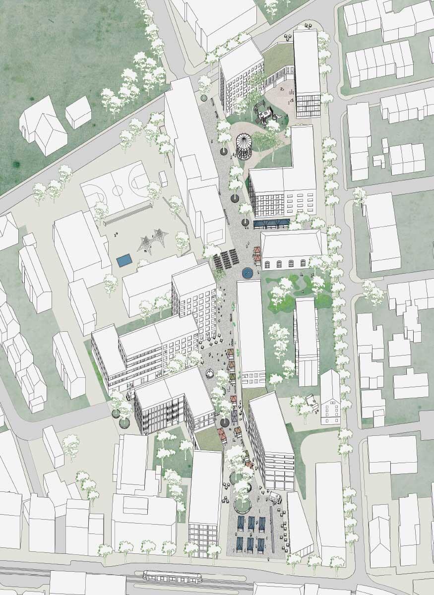 Über verschiedene Nutzungsszenarien wurde das Konzept der Zentrumsentwicklung mit der Bevölkerung diskutiert. Illustration: Harry Gugger Studio