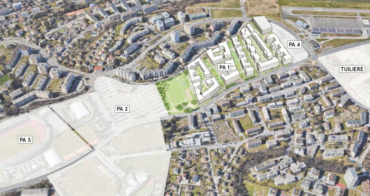Zwischen altem Olympia-Stadion Pontaise und neuem Fussball-Tempel Stade de la Tuilière erstreckt sich das zukünftige Ecoquartier Plaines-du-Loup. Bild: Ville de Lausanne