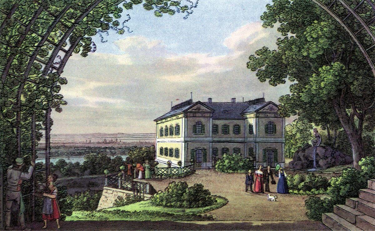 Die königliche Villa in Wachwitz auf der Vedute von Johann Carl August Richter aus dem Jahr 1873 zeigt das einfache Landhaus eingebettet in die landschaftlich reizvolle Umgebung des Elbtals.