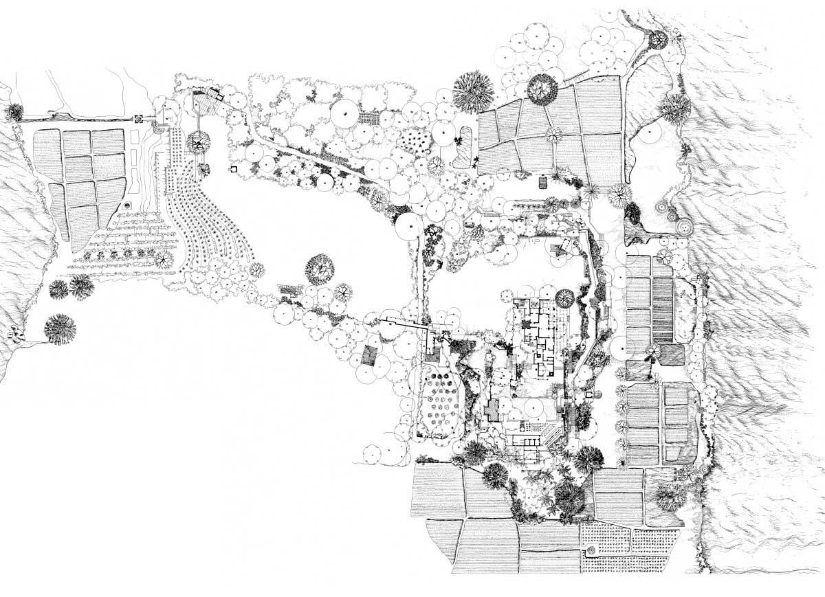 Lageplan Lunuganga Garden Retreat, 1985, gezeichnet von Vernon Nonis (Bon/Robson Archiv)