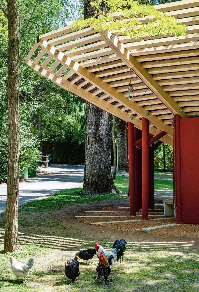 Der Zoopavillon in Servion ist ein Semesterprojekt am Lehrstuhl EAST der EPFL: Ein Bausystem aus sauerhaften Materialien, das komplett demontierbar ist. Bild: Simon Jeckelman, EAST/EPFL