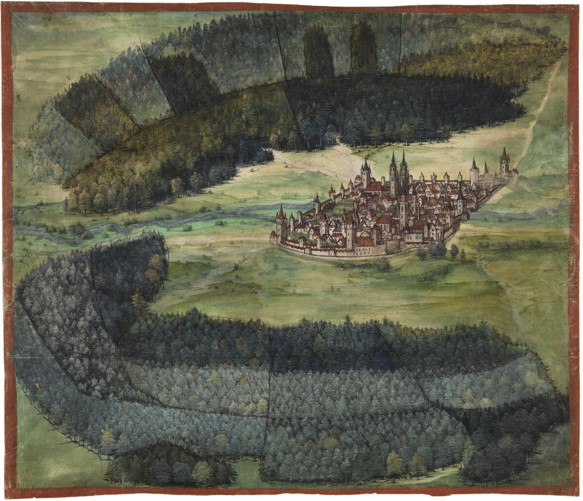 Erhard Etzlaub gestaltete den «Nürnberger Waldplan» im Auftrag des städtischen Rates. Der Reichswald nördlich und südöstlich der Stadt misst rund 25 000 Hektar. Bereits 1385 verfügte man in Nürnberg eine Bannmeile in Stadtnähe, um die Ausplünderung der Forste («Baumfrevel») zu verhindern. Quelle: Germanisches Nationalmuseum Nürnberg.
