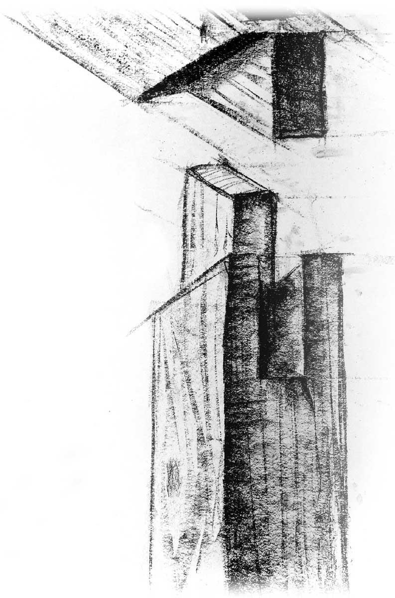 Poetisch: Zusammengebaut sieht der Knoten (fast) aus wie eine simple Gehrung – nur würde diese alleine nicht halten. Zeichnung: Uli Matthias Herres