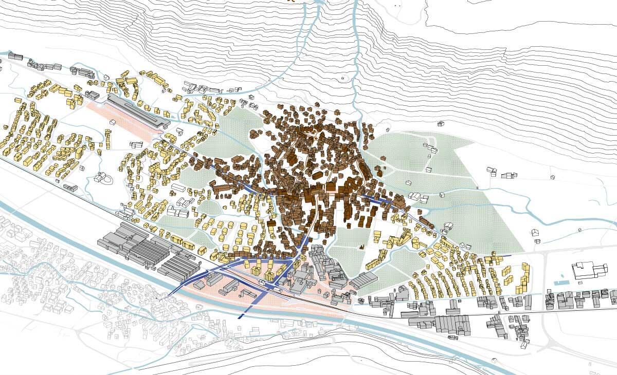 Dorfbilder wie hier für Näfels (2020) hat Ruumfabrigg für Dörfer in Glarus Nord gezeichnet: als Grundlage für Diskussionen über Qualität und Entwicklung.