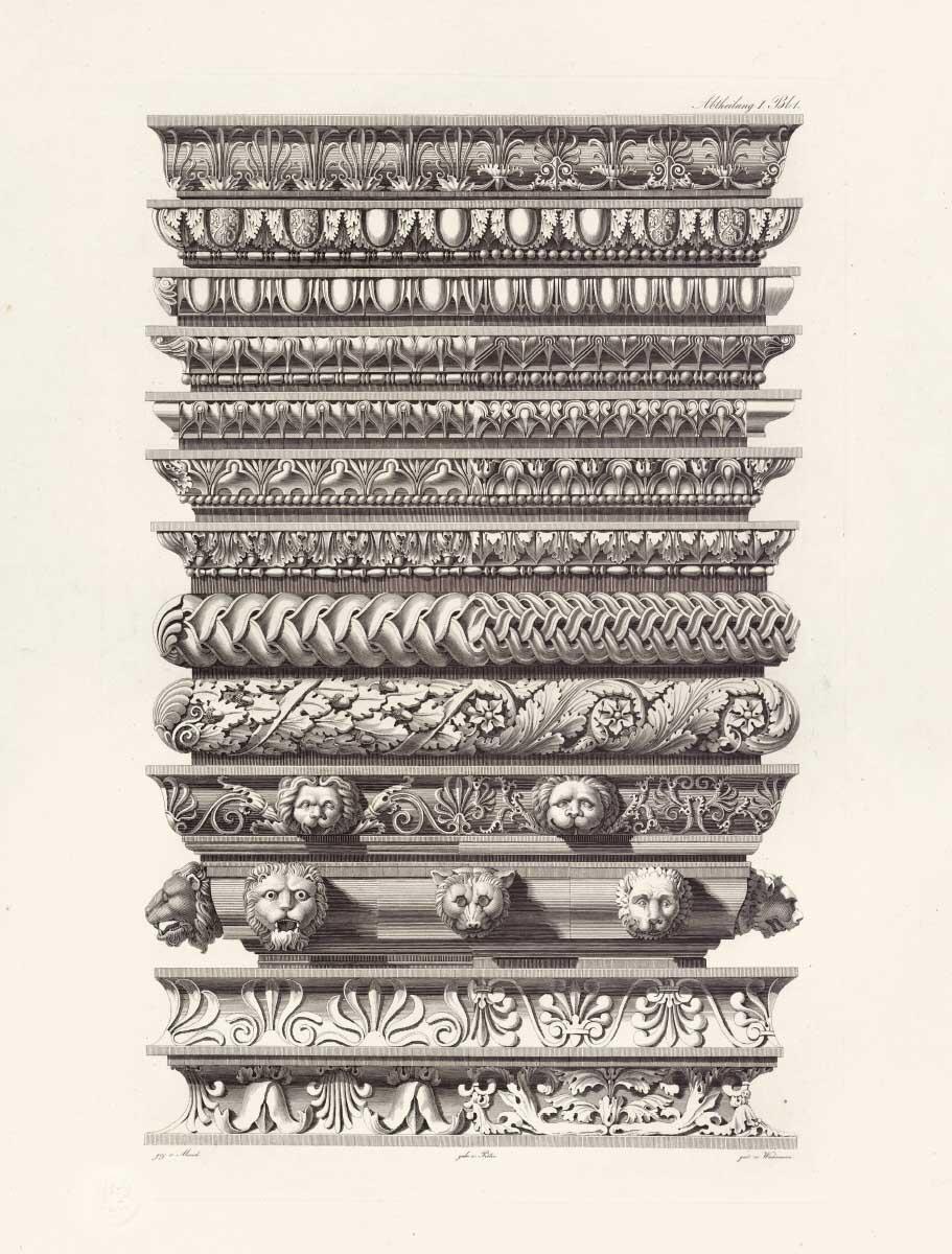 Tafel aus Vorbilder für Fabrikanten und Handwerker; Kupferstich von Johann Matthäus von Mauch, 1820er Jahre. Bild: bkp, Kupferstichkabinett, Staatliche Museen zu Berlin