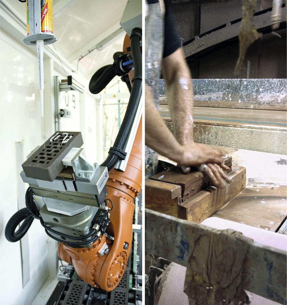 Gleichzeitigkeit von Zukunft und Vergangenheit ist dem Stein eingeschrieben: Als digital informiertes Fügen mit dem Roboter (Bild links: Gramazio Kohler Research, ETH Zürich) oder als archaisches Formen von Hand Bild: Daniel Kurz