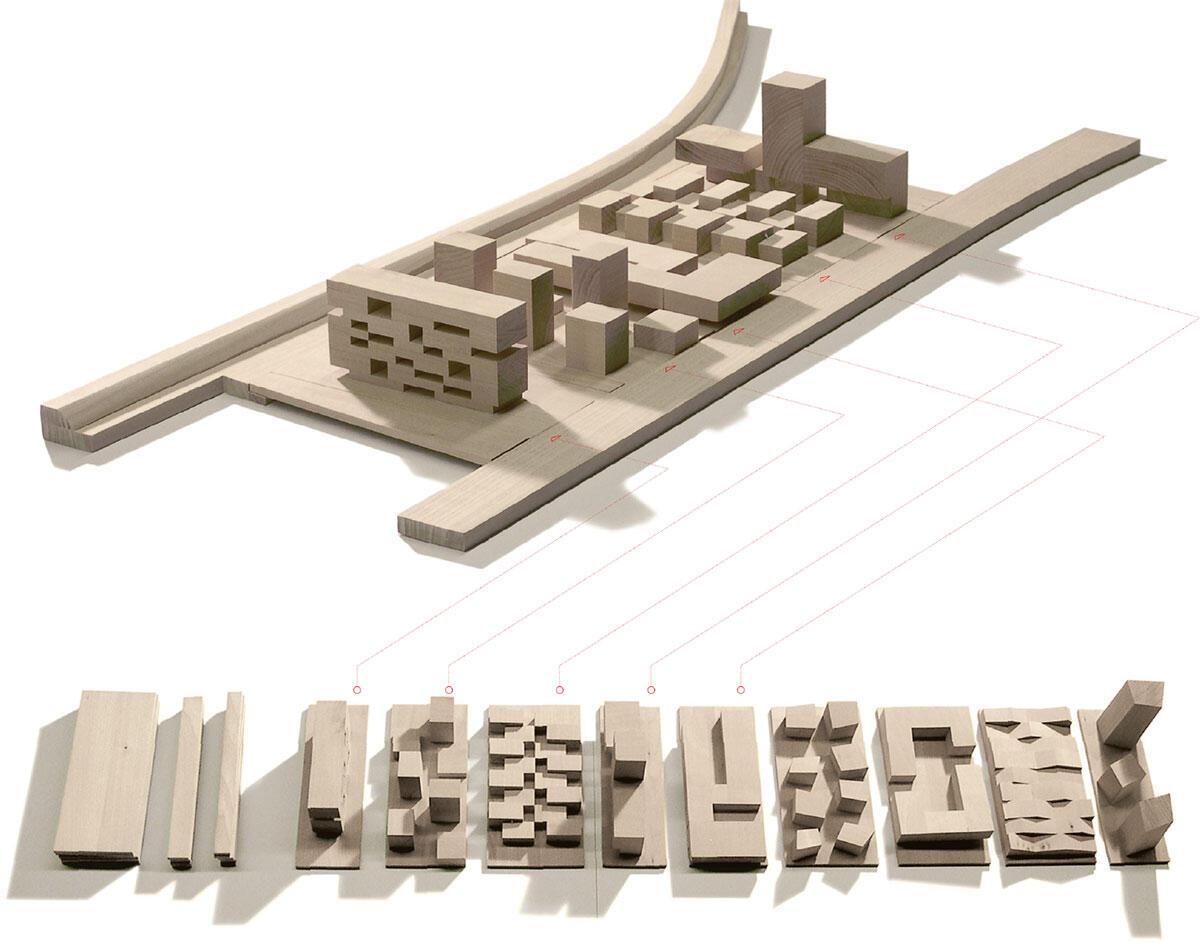 Mögliche Kombinationsszenarien auf fünf Parzellen, agps architecture, September 2006