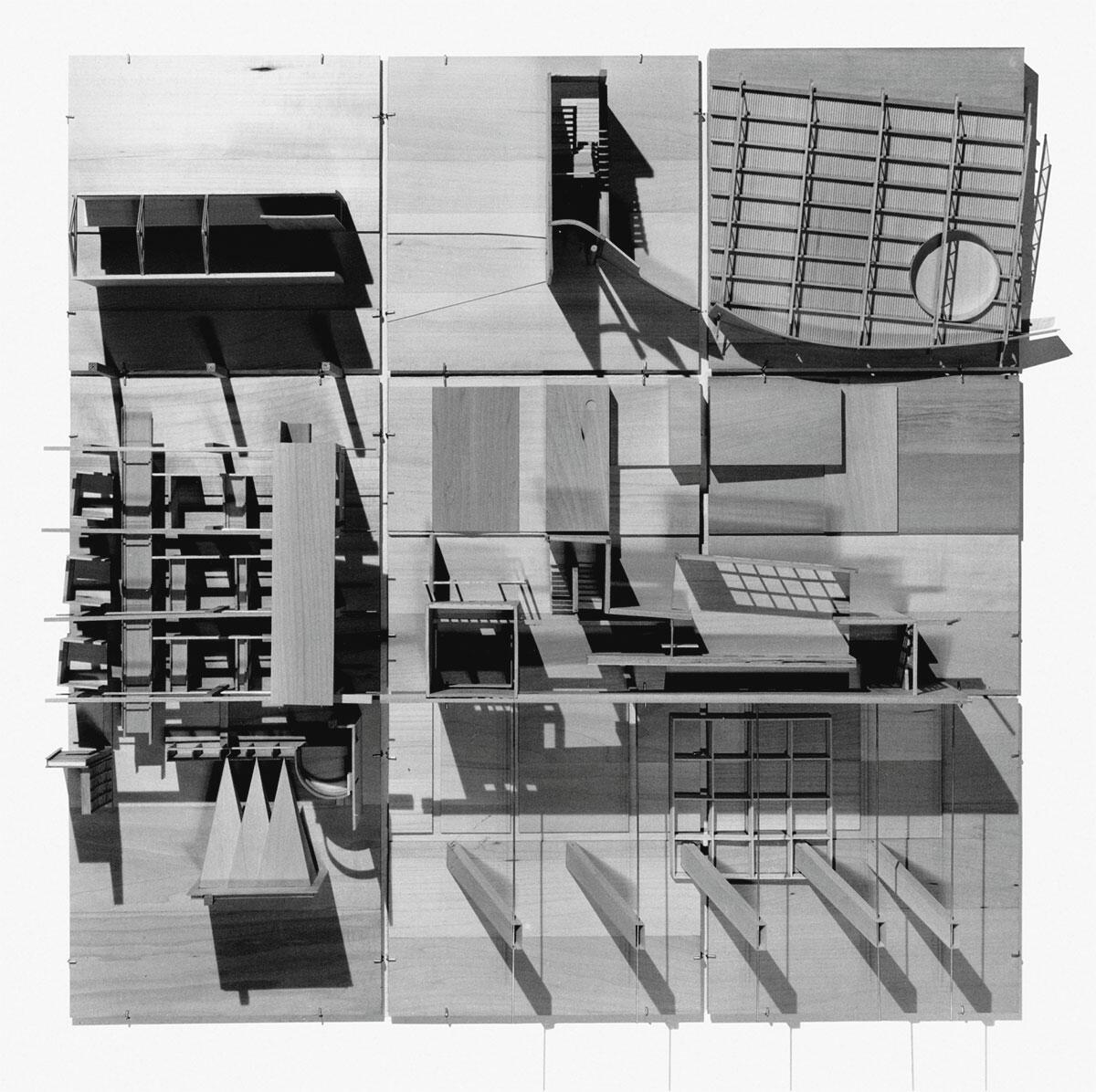 Marc Angélil, Sarah Graham und Barry Price, Modell für die Ausstellung «The Making of Architecture», Graduate School of Design, Harvard University, 1985.