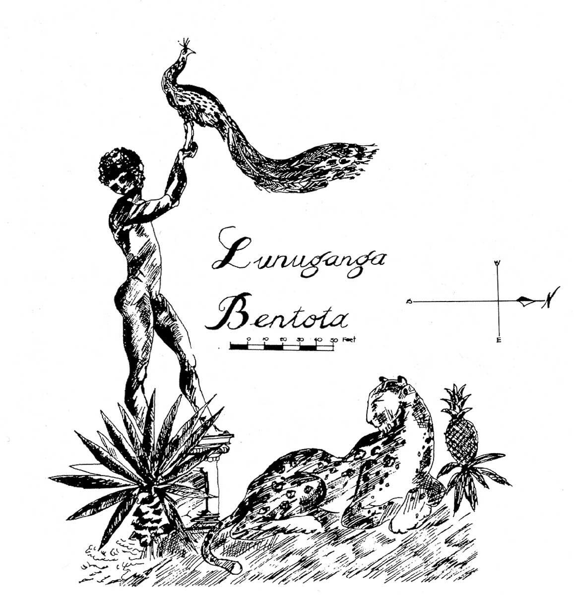 Emblem Lageplan Lunuganga Garden Retreat, 1985, gezeichnet von Vernon Nonis. (Bon/Robson Archiv)