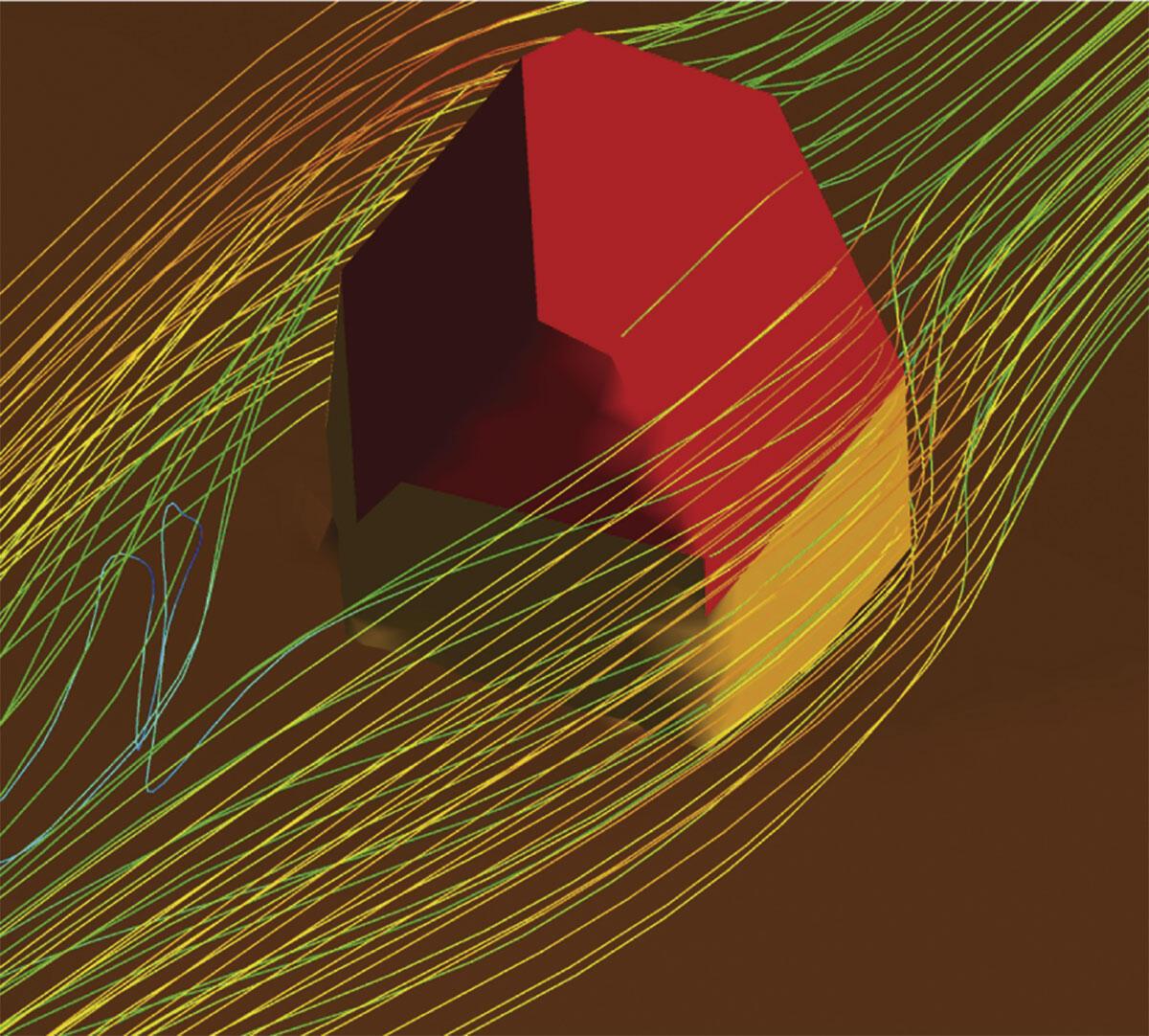 Bunte Welten: Computersimulation, mittlerweile als Kulturtechnik in den Wissenschaften etabliert, ist auch in der digitalen Architekturproduktion kaum mehr wegzudenken. Hier: Ausschnitt einer Computersimulation bei der Planung der Monte Rosa Hütte (2009).