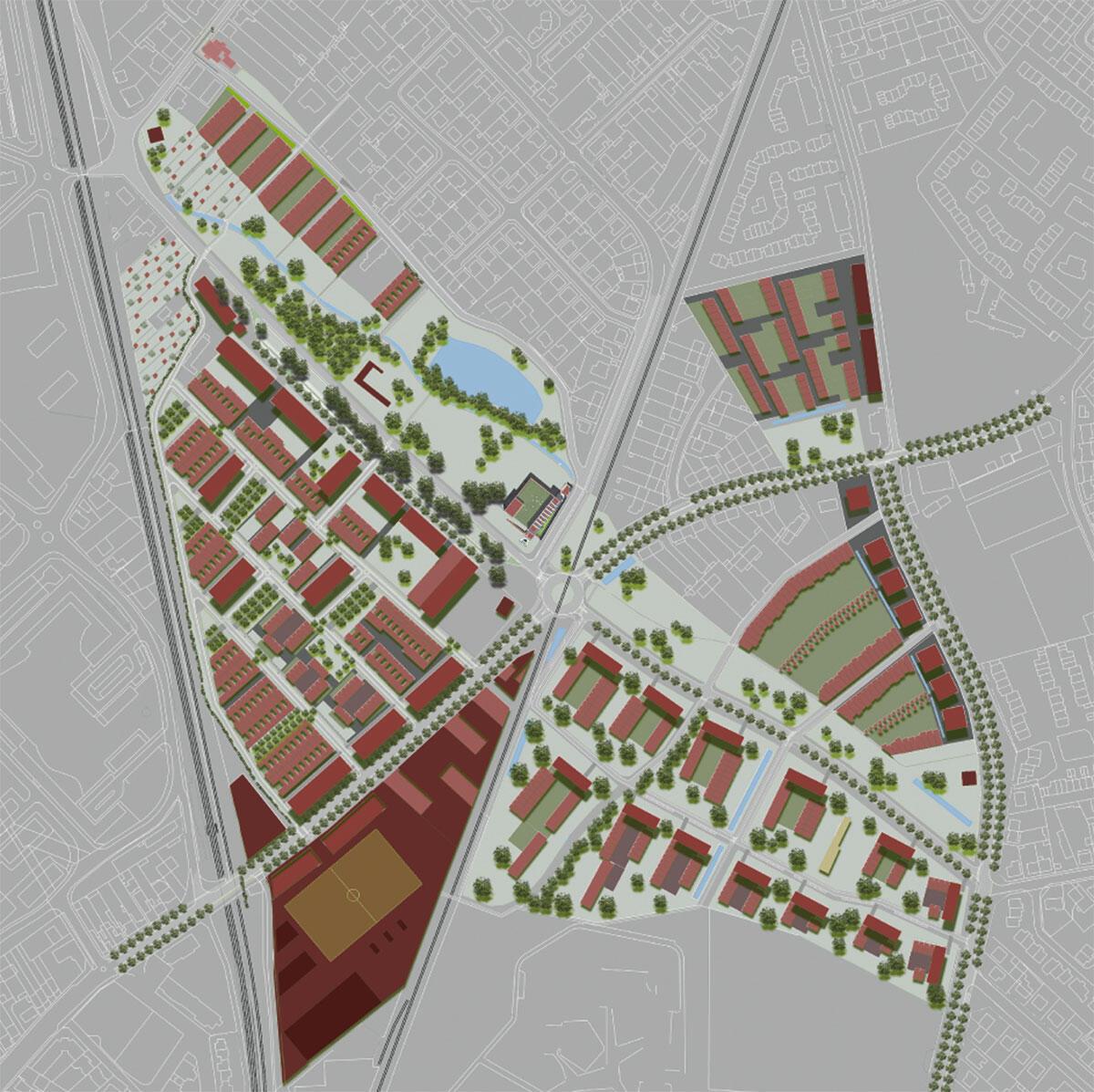 Masterplan des Eco-Quartiers ZAC Bottière Chénaie von Jean-Pierre Pranlas-Descours (Planung) sowie Anna-Sylvie Bruel und Christophe Delmar (Landschaftsgestaltung).