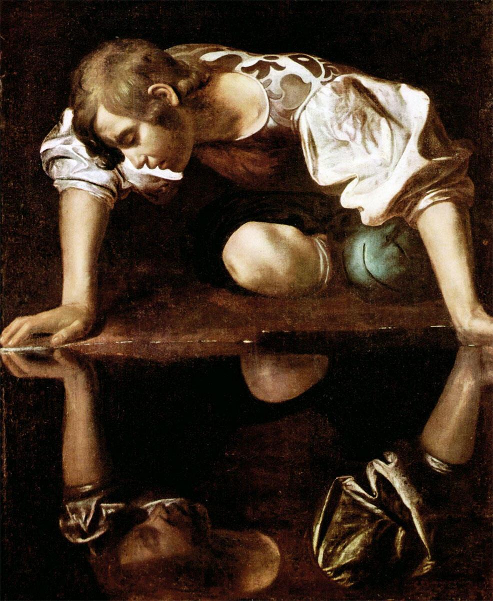 Nicht nur die Moderne spiegelt sich in der Geschichte wie Narzis im Teich – auch die digitalen Entwurfsmethoden müssen ihren Konterpart in der Tradition suchen. Narcisius von Caravaggio, 1598–1599.