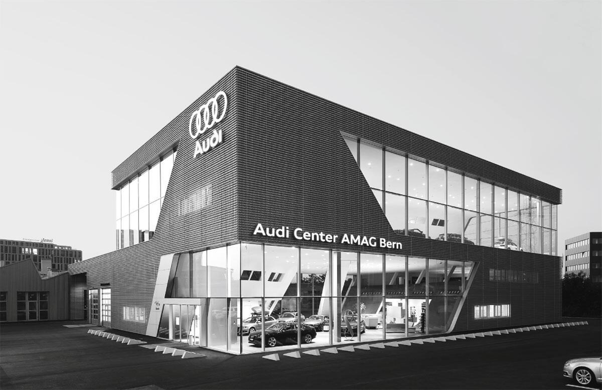 Fassade mit Showroom: Das Audi Center AMAG in Bern