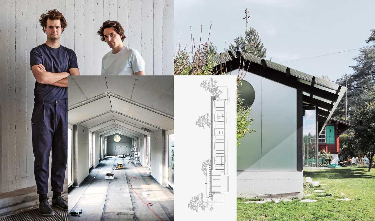 Comte/ Meuwly architectes, Genève et Zurich: Le projet extrude l'espace de vie principal du chalet existant, produisant un plan de 4 × 25 m traversant le jardin dans sa longueur.