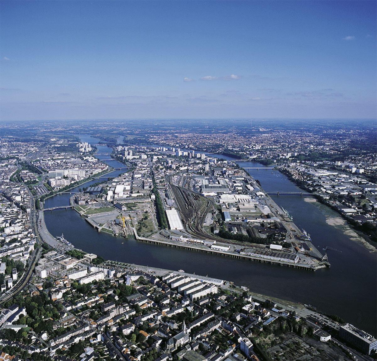 Luftaufnahme der Ile de Nantes
