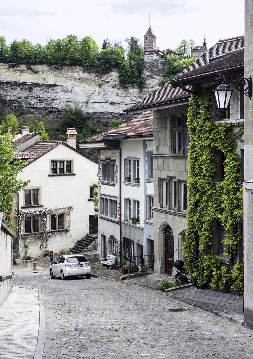 Der steile Stalden war bis zum Bau der Zähringerbrücke von 1922–24 der einzige Zugangsweg vom Osten her in die Stadt und muss für die beladenen Fuhrwerke ungemein mühsam gewesen sein. Das Haus mit der unverputzten Hausteinfassade am Stalden 14 gehörte dem Generalsekretär der Bewegung «Pro Fribourg», Gérard Bourgarel. Die gestaffelten Fassaden zeigen verschiedene Praktiken der Denkmalpflege im Umgang mit diesen Häusern aus dem Spätmittelalter. – Im Hintergrund die gewaltigen Sandsteinfelsen, in die sich die Saane tief eingeschnitten hat. Darüber thront der Bürglenturm der Stadtbefestigung mit der barocken Loretokapelle.