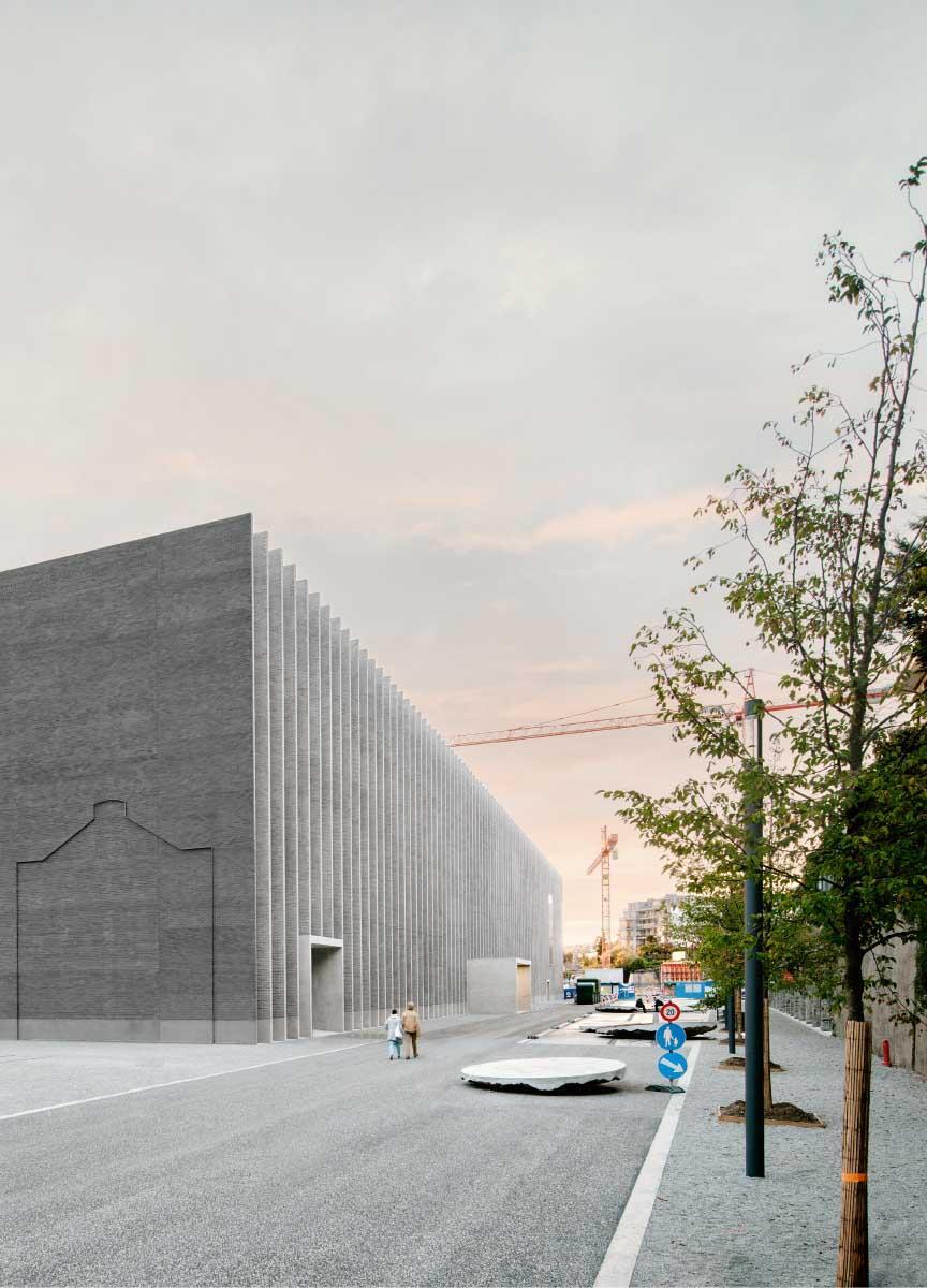 Auch wenn die Architektur hermetisch wirkt: Dereinst soll sie mit dem Aussenraum interagieren. MCBA in Lausanne und Plateforme 10.  Bild: Simon Menges