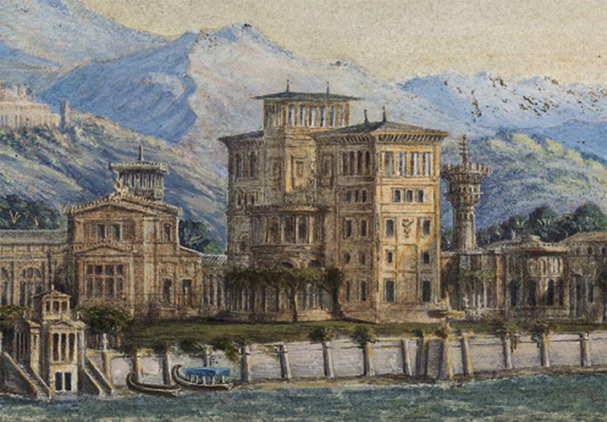 Wilhelm Stier, Rekonstruktion der Villa Laurentinum bei Ostia nach der Beschreibung Plinius des Jüngeren (1832). Perspektivische Ansicht vom Meer her, aquarellierte Handzeichnung.