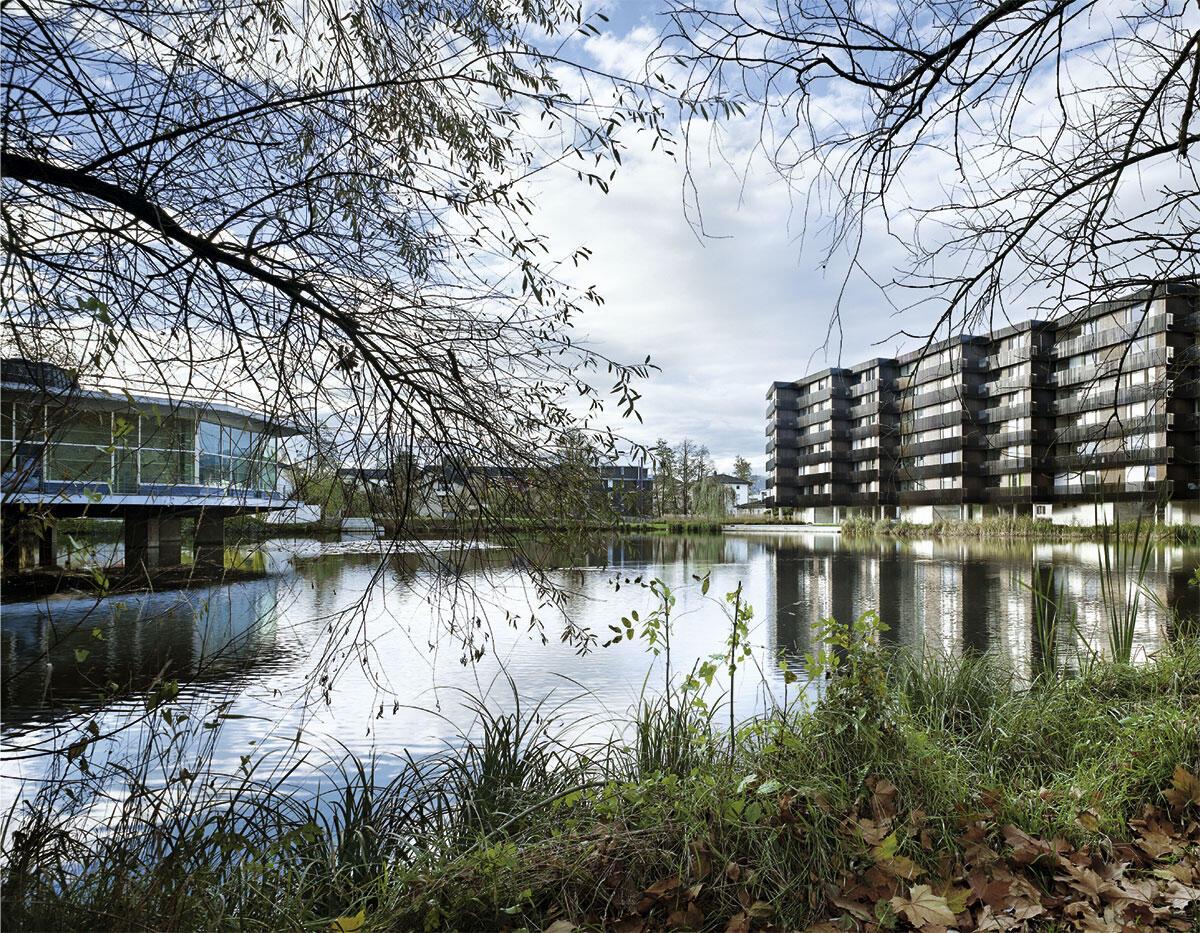 Direkt am lauschigen Weiher bildet der Zeilenbau von Morger + Dettli ein angemessenes Gegenüber für die eleganten 1960er-Jahre-Bauten von Roland Rohn.