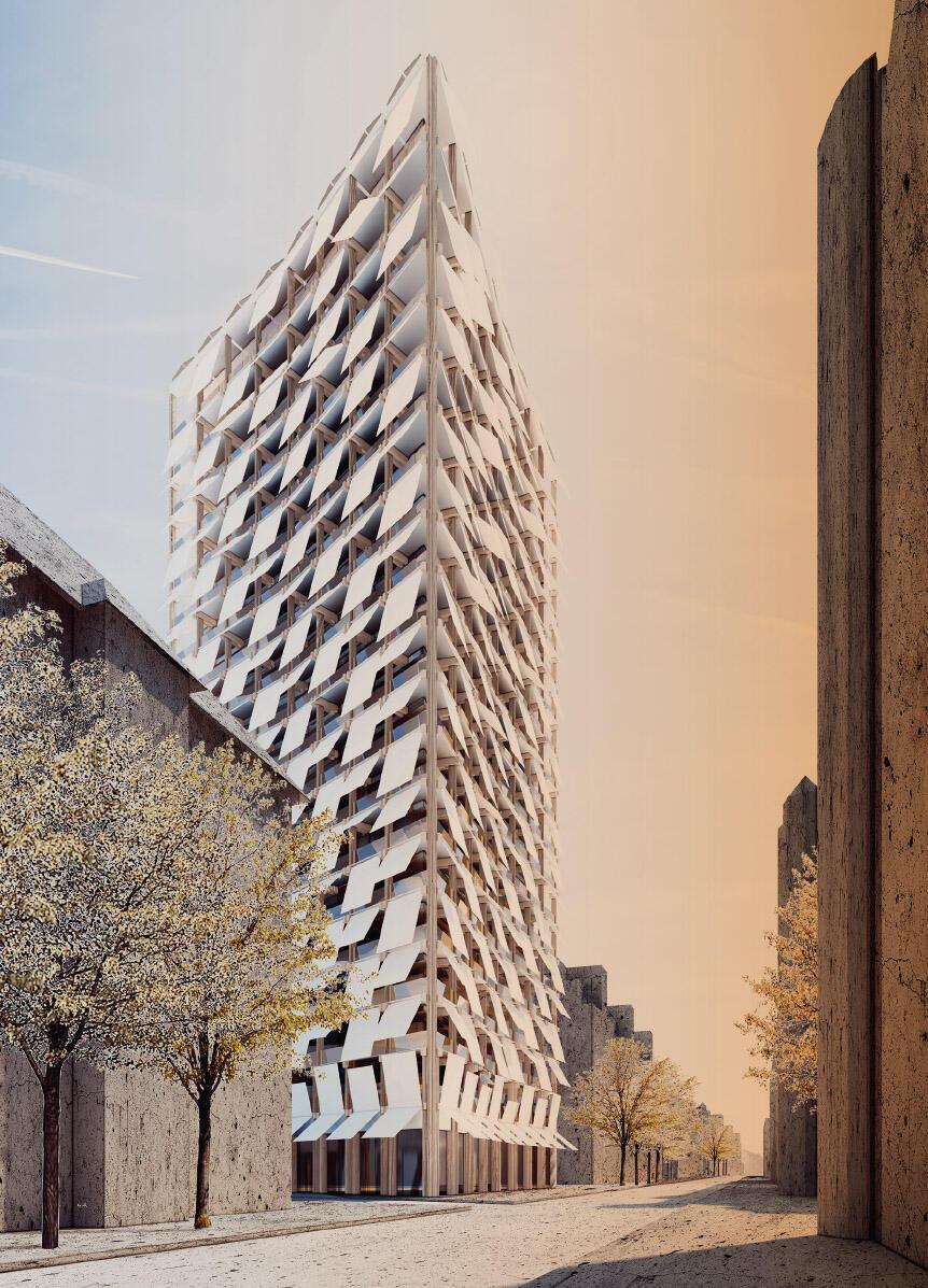 Neue Paradigmen führen zu neuen Ausdrucksmöglichkeiten: Eine von vielen denkbaren postfossilen Architekturen. Freie Arbeit und Bild von JOM Architekten