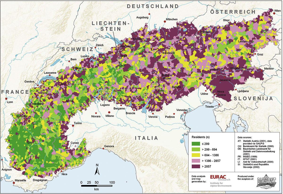 Die Karte zeigt die in der Alpenkonvention definierte Abgrenzung des Alpenbogens.