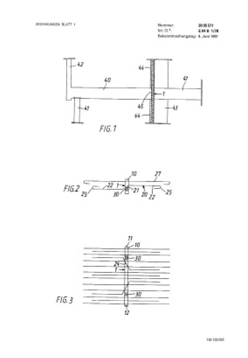 In den Patenschriften rund um den von Eberhard Schöck entwickelten Kragplattenanschluss zeigt sich die ganze Komplexität von überkreuzten Ebenen, Kräften und Materialien. Abbildungen: Deutsches Patent- und Markenamt, 1980/81