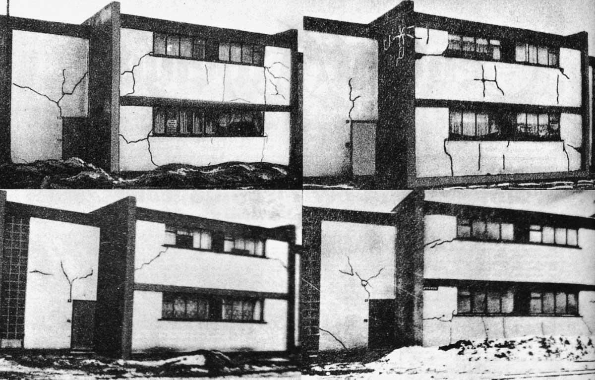 Bildmanipulationen gibt es schon lange: Bauschäden an der Siedlung Törten von Walter Gropius in grafisch übertriebener Darstellung.  Bild aus: Heimat 23 / 1922, (Archiv Andreas Butter)