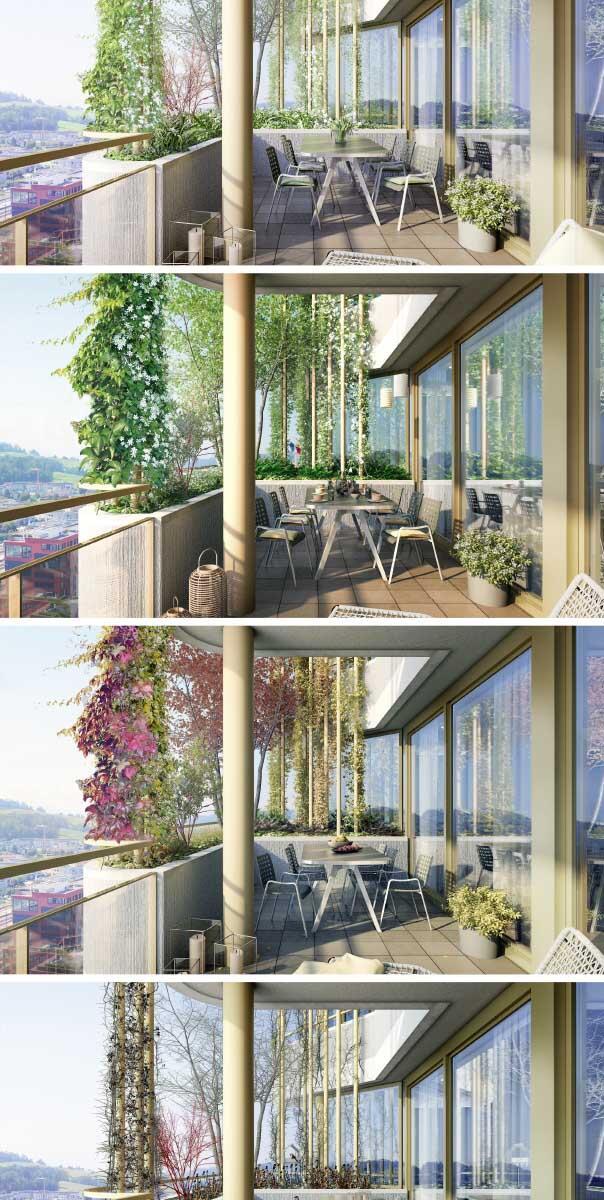 Beim Hochhaus Aglaya auf dem Suurstoffi-Areal in Rotkreuz (2019) von Ramser Schmid mit dem Landschaftsarchitekten Lorenz Eugster werden Wohnungskäufer mit der jahreszeitlich wechselnden Stimmung der bepflanzten Balkone gelockt.  Bilder: Raumgleiter