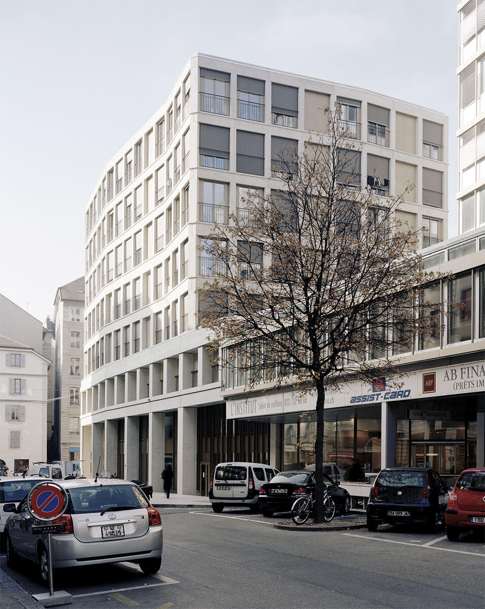 Bebauung Rue du Cendrier in Genf von Sergison Bates Architects, London und Jaccaud Architectes, Genf.