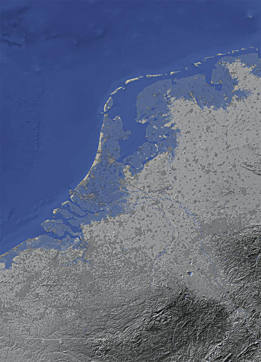 In den Niederlanden liegen grosse Gebiete tiefer als der Meeresspiegel (in der Karte blau eingefärbt). Bau und Erhalt der Deiche prägen über Generationen das Verhältnis zur Landschaft.