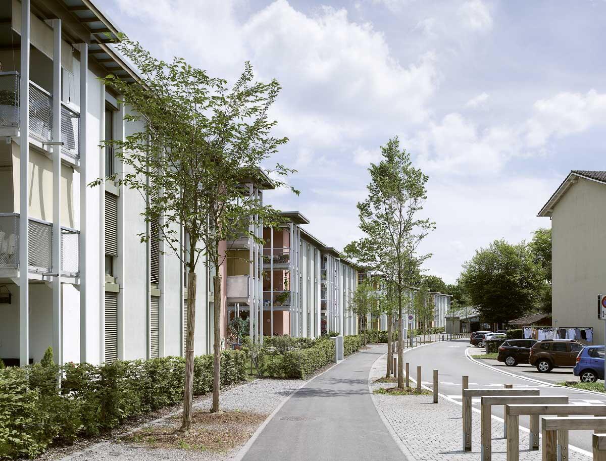 Die neuen Bauten folgen als Kette der bestehenden Strasse; private und halböffentliche Räume sind fein differenziert. Bild: Ruedi Walti
