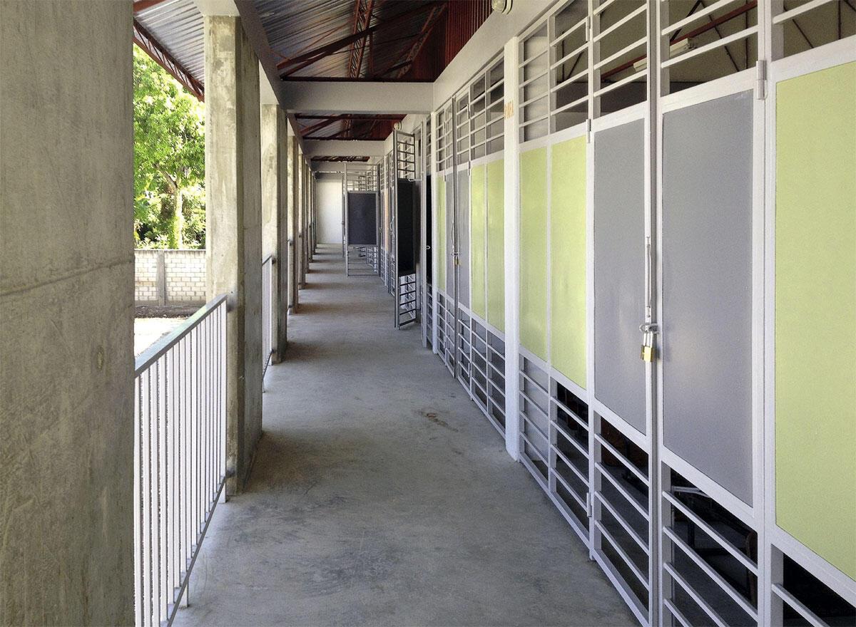 Das Projekt der beiden Hauptgebäude der Schule Berquin in Miragoâne: Der Kindergarten ist in eingefasstem Mauerwerk.