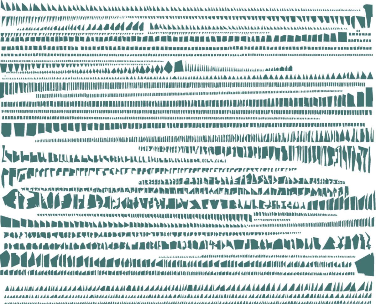 Stadt aufräumen: Armelle Carons Bearbeitung von Stadtgrundrissen (2005-2008) zeigt deutliche Unterschiede von Grösse, Geometrie und Varianz der Blöcke.