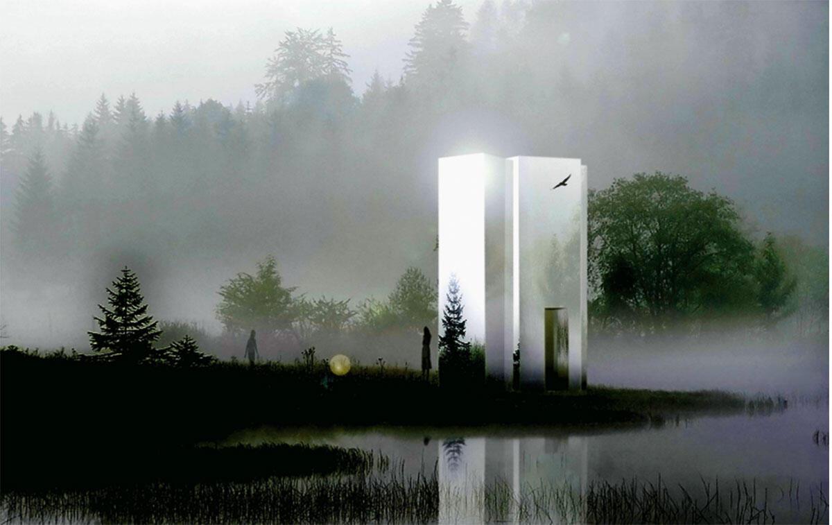 Felippi Wyssen. Marienkapelle, 2010. Die Marienkapelle ist ein mobiler Raum und soll auf eine Reise durch die Schweiz geschickt werden. Sie hat die Aufgabe, sowohl in urbanem Kontext als auch in ländlicher Umgebung ihrer Funktion als Rückzugsort gerecht zu werden.