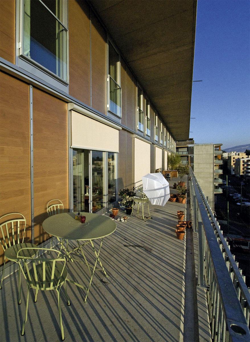 Durchgehende Balkone – auf Wunsch der Bewohner bei der Genossenschaft CoDHA