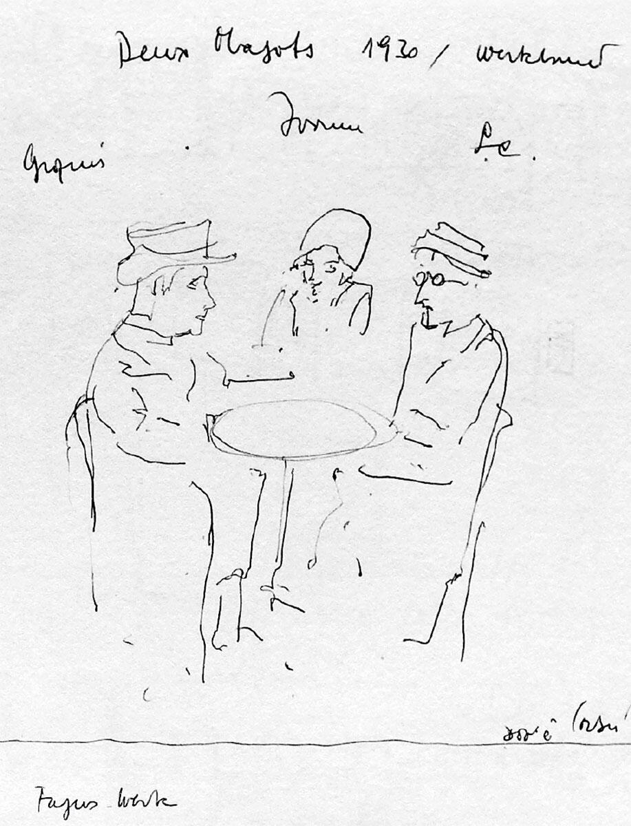 «Deux Magots 1930 / Werkbund: Gropius, Yvonne LC», aus Flora Ruchat-Roncatis Notizbuch von 1995 / 96 Bild: Privatnachlass Flora Ruchat-Roncati