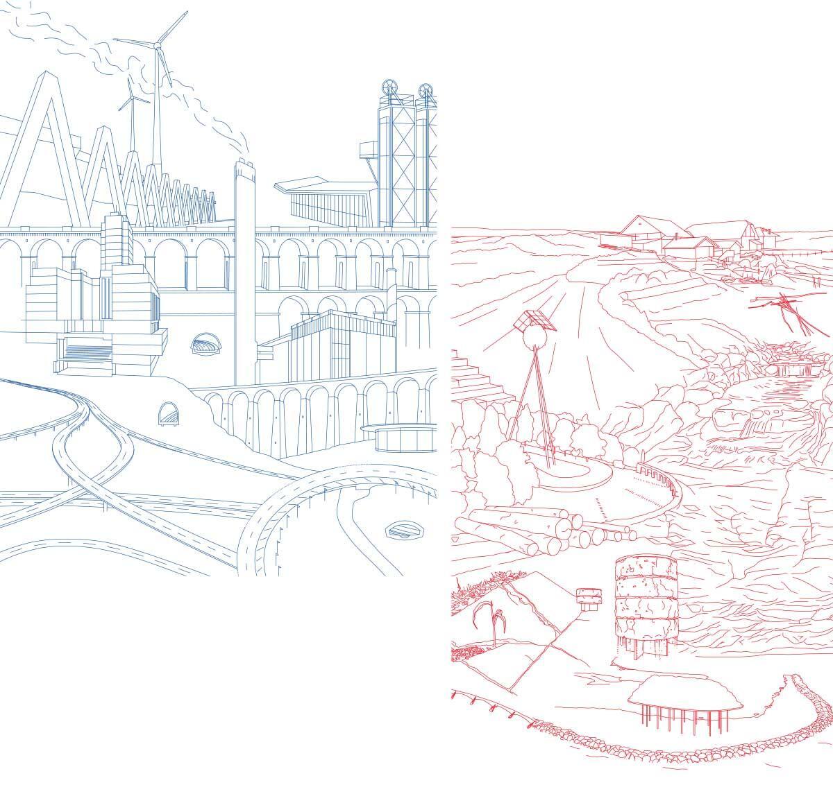 Lausanne Moderne: Das Spektakel einer Stadt, die ihre Topografie dominiert. Illustration: Oscar Gential