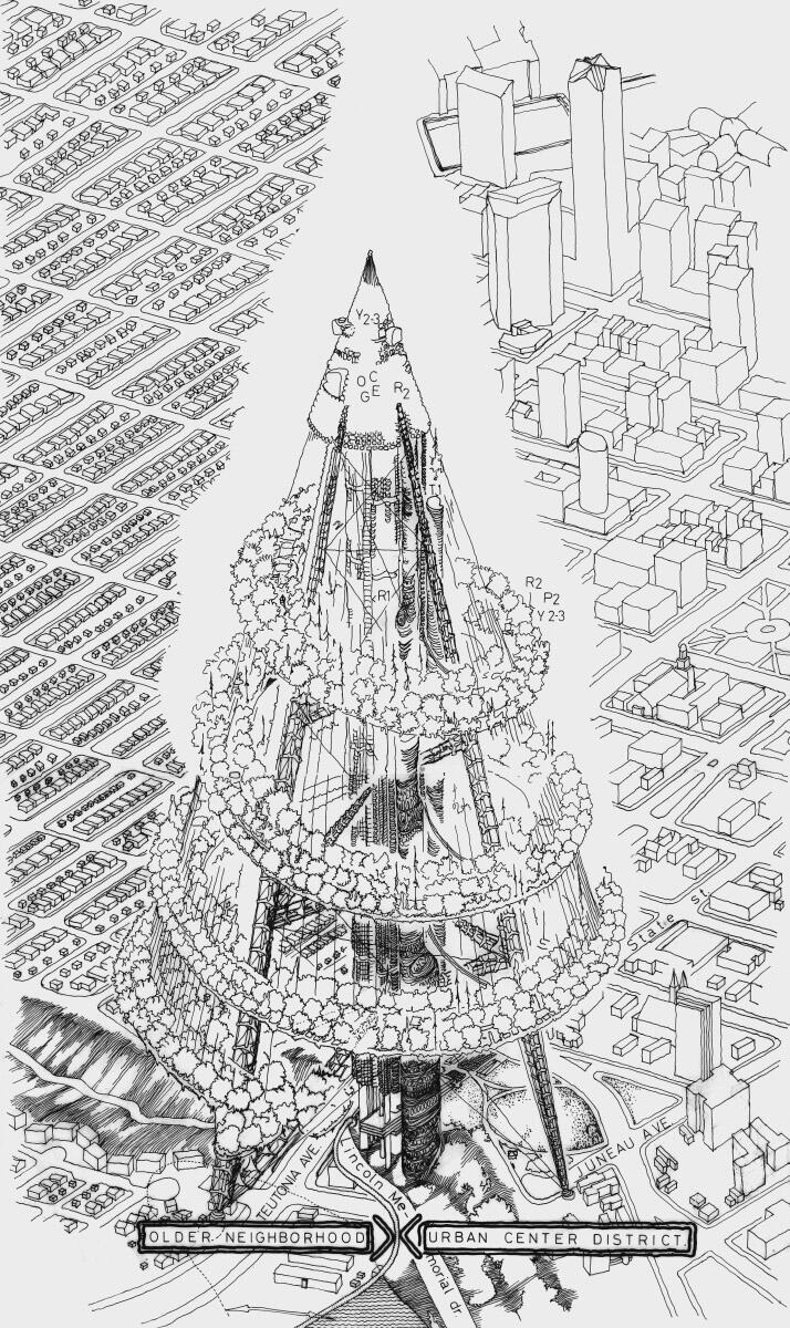 Eine Park-Spirale umrundet 20 000 Wohnungen für den Selbstausbau: Projekt einer 200-geschossigen «Megastruktur» als Leichtkonstruktion über Milwaukee, International Design Competition 1987–88. Alle Zeichnungen im Beitrag © Elemér Zalotay/FUGA Galleria Budapest
