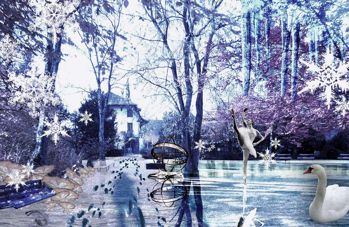 Freiluft. Schlossareal König, 2007-2008. Studie für einen Ideengarten, eine gedeckte Verbindung im Areal oder einen neuen Park. Das ist es, worauf Sie schon immer gewartet haben: Die Weltneuheit in Sachen Architektur!