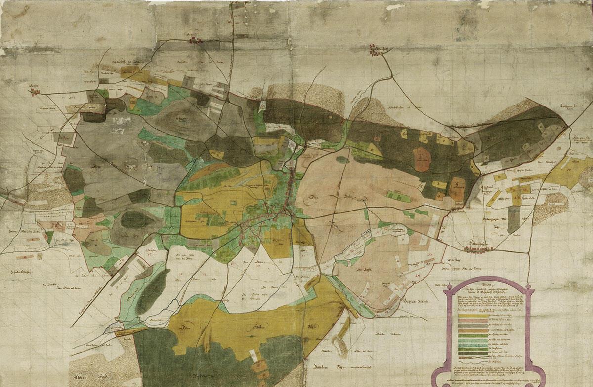 «Grund Riss der Richtenschweiler Allment, geometrisch aufgenommen anno 1808 von Ingenieur Diezinger.» Plan von Geometer Rudolf Diezinger (1770–1847).
