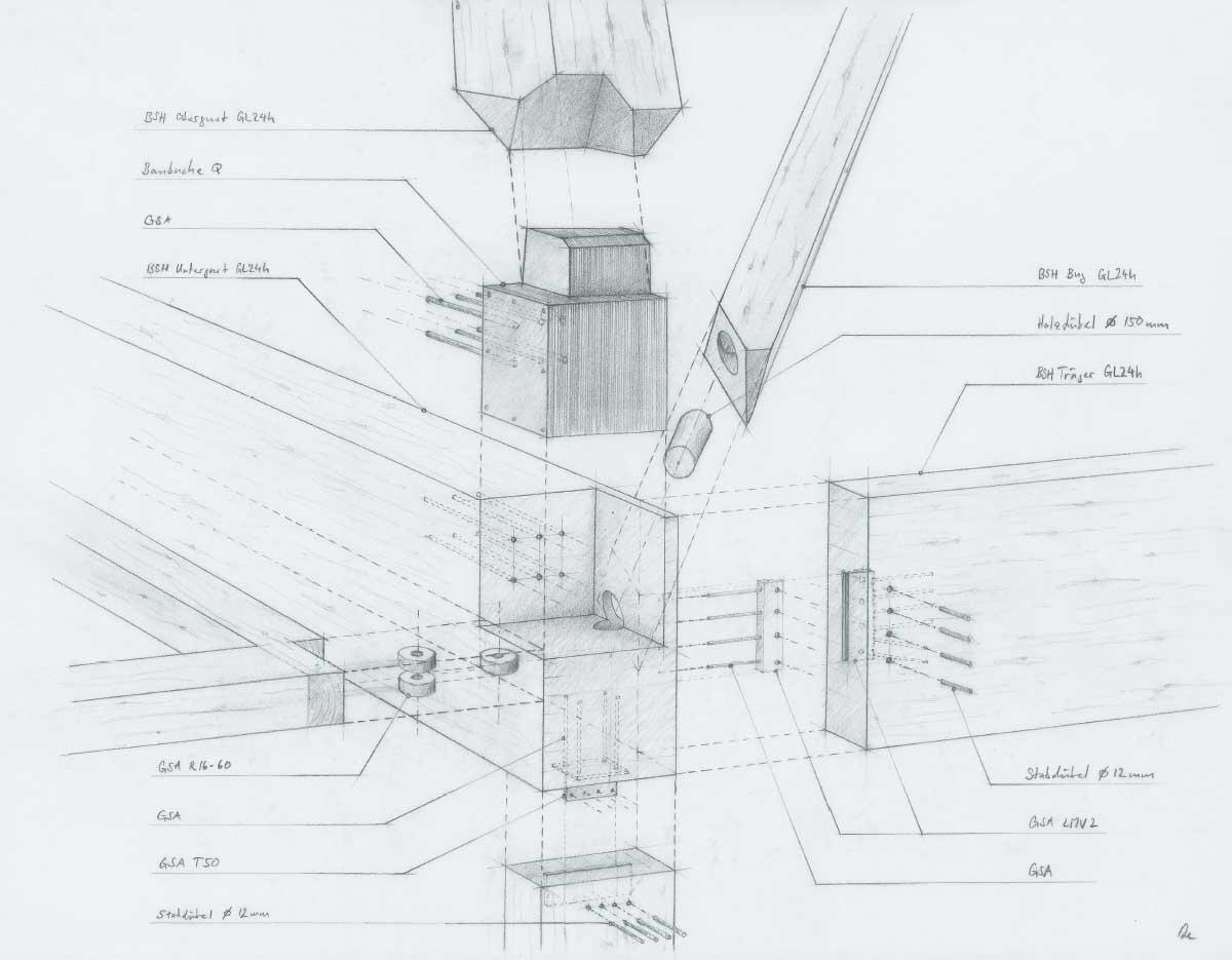 Eckknoten der Dachkonstruktion über dem Verpflegungsraum im «Condirama» des Firmensitzes Max Felchlin, an jener Stelle, wo die Kräfte aus dem Dach und dem Fachwerkausleger in die Stütze eingeleitet werden.  Zeichnung: Lukas Eschmann