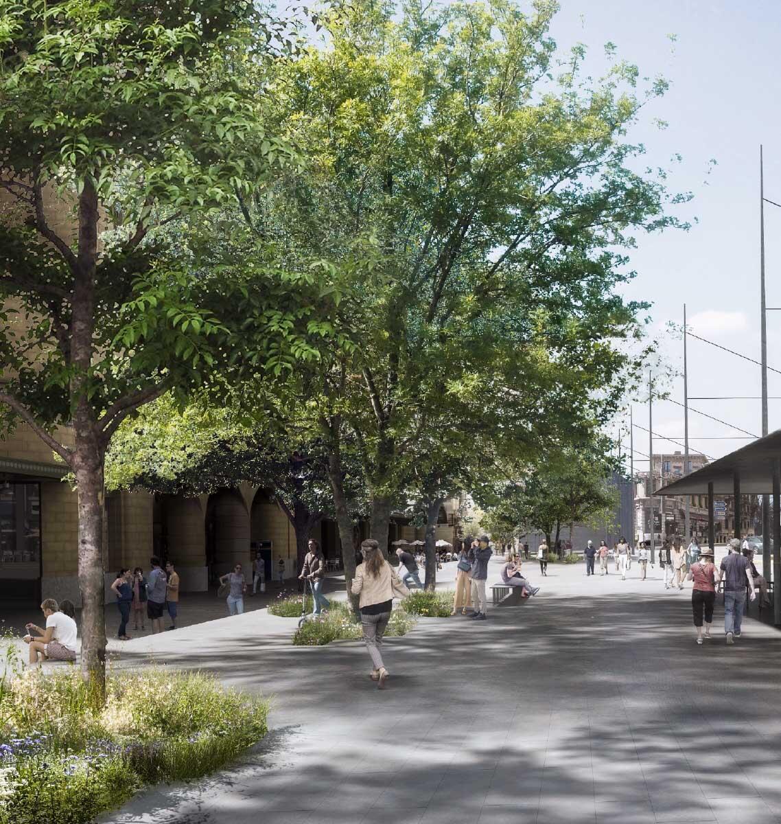 Bäume auf dem weitgehend unterbauten Platz als Allegorie f¨r den Plan Climat der Stadt Lausanne  Renderings: Archigraphie