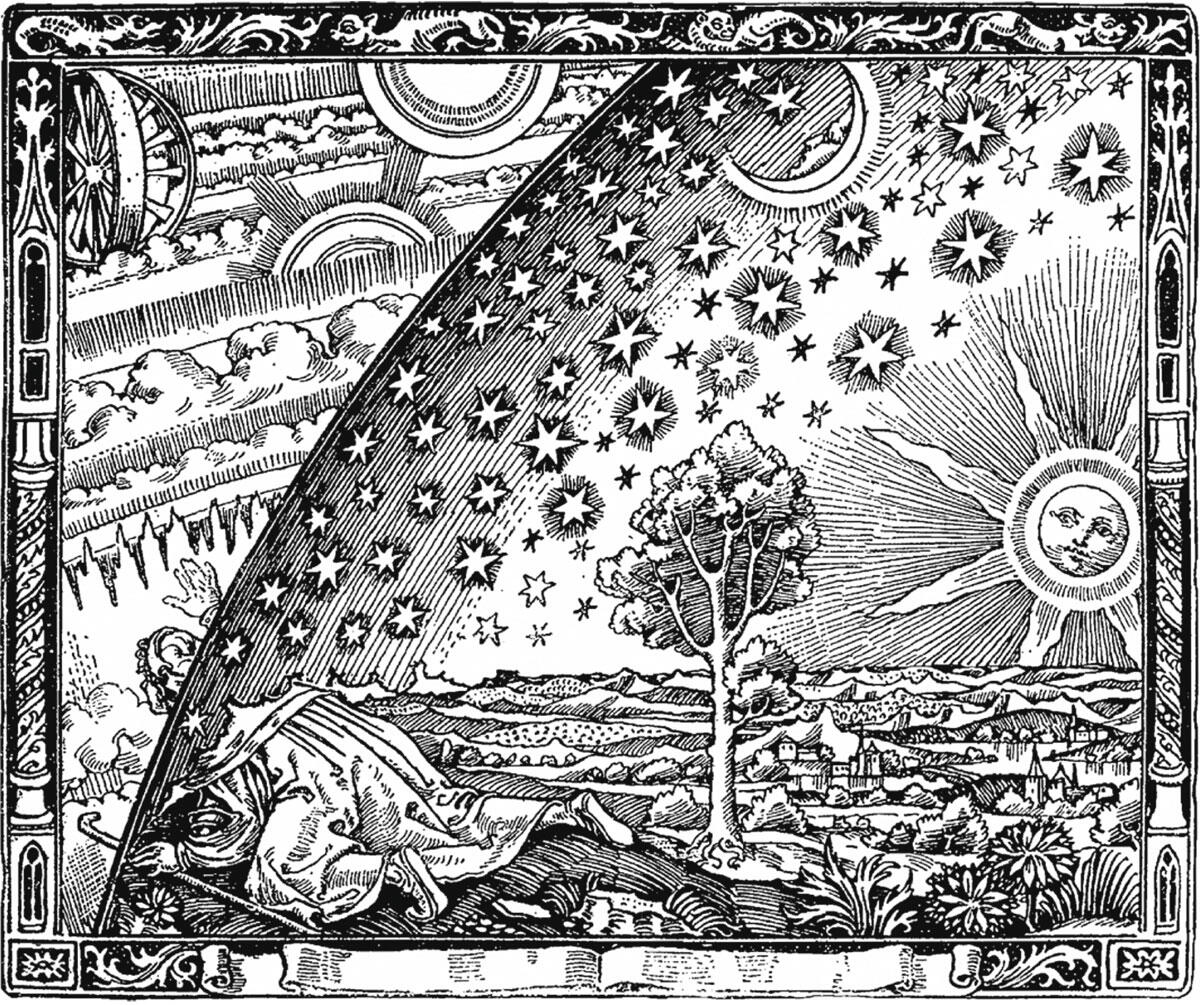 Im Holzstich von 1888 schaut sich der Wander am Weltenrand neugierig auch in anderen Sphären um.