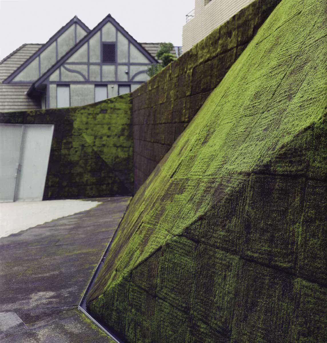Hof neben dem Prada-Shop Tokyo (2003) von Herzog & de Meuron: eine Anspielung an traditionelle japanische Moosgärten.  Bild: Mario Ciampi, aus: Anna Lambertini, Mario Ciampi, Vertikale Gärten, München 2009 (Orig. 2007)
