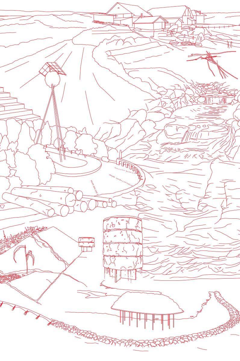 Lausanne Endermo: Das Gleichgewicht eines gebauten Territoriums, das die Form seiner Geografie angenommen hat. Illustration: Oscar Gential